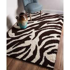 Brown Zebra Area Rug Shag Plush Brown And Ivory Zebra Print Area Rug 5 X 7 2 5 X 7