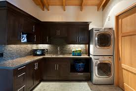Contemporary Laundry Room Ideas Lg Stackable Washer Dryer Laundry Room Contemporary With Built Ins