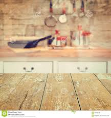 Kitchen Background Empty Wooden Vintage Table Over Kitchen Blurred Background Stock