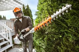new stihl extended reach hedge trimmers better balanced for easy