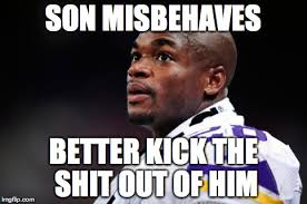Spanking Meme - vikings fans defending adrian peterson for spanking his son proves