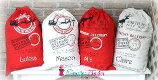 personalized santa sack personalized santa sacks reindeer design sack christine