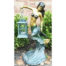 outdoor lawn garden patio nautical coral mermaid holding candle