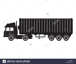 Old Ford Truck Vector - silhouette truck trailer container delivery cargo transport stock