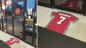 cigar lounge uses colin kaepernick jersey as doormat