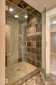modern grey tile bathroom designs with gray ceramic floor and