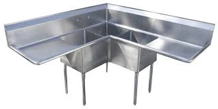 stainless corner sink economy 3 compartment stainless corner sink w 2 24 drain boards