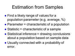 estimation from samples find a likely range of values for a