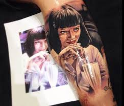 portrait tattoo of mia wallace by benjamin laukis no 301