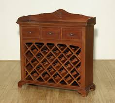 solid mahogany 3 drawer liquor bar wine rack
