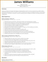 Resume Template Restaurant Manager 9 Resume Sample Restaurant Manager Budget Reporting