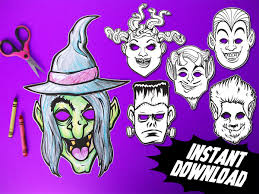 printable monster coloring masks 6 kids paper halloween