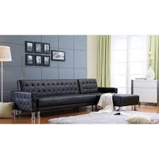 Convertible Sectional Sofa Bed Marsden Black Tufted Bi Cast Leather 2 Piece Sectional Sofa Bed
