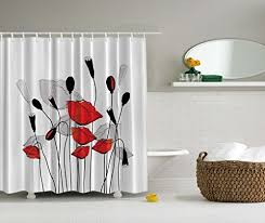 Black Grey And White Shower Curtain Red Fabric Shower Curtains Amazon Com