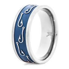 titanium ring with fishing line inlay titanium buzz