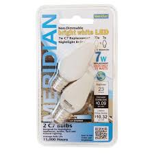 meridian led 7w equivalent super blue clear c7 non dimmable led