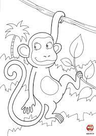 coloriage singe arbre