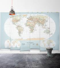 modern world map wallpaper mural milton king world map vintage wall mural from muffin mani