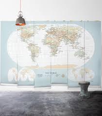 modern world map wallpaper mural milton king world map vintage wall mural from muffin mani