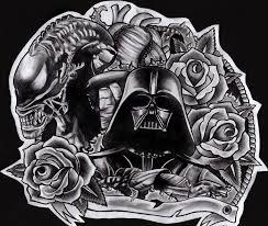 darth vader and alien tattoo design by cha illustration on deviantart