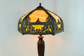 early 20th century stained glass lamp and bronze stand double pull