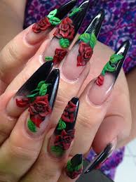 black stilettoes with 3d red rose nail art nail art stilettoes