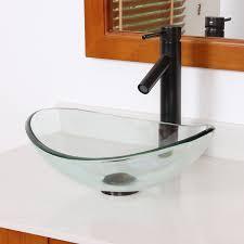 elite unique oval transparent tempered glass bathroom vessel sink