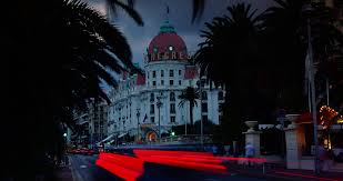 editorial nice france palatial hotel negresco at night hotel