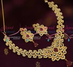 new necklace design images Nl8083 broad cz ruby white short close necklace gold plated new JPG