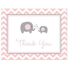 baby shower thank you cards pink elephant baby shower thank you cards and envelopes 50 count