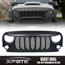 jeep bumper grill xprite beast grille front matte black with built in mesh for jeep