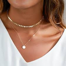 choker necklace layered images 2017 summer simple gold coin layered choker necklace for women jpg