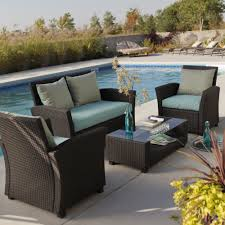 wicker patio furniture set brown finish chairs loveseat also
