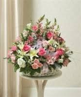 basket arrangements heartfelt tribute floor basket arrangement bright funeral in