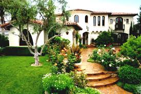 frontyard garden design front of house classic spanish style homes