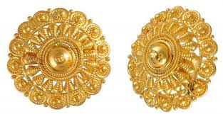 gold earrings tops 22k gold filigree earrings ajer50148 22k gold tops earrings