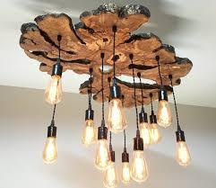 interior industrial ceiling lighting with woodne root trees