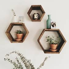 Wood Wall Shelf Designs by Threshold Hexagon Wall Cube Set Of 3 Graywash Target