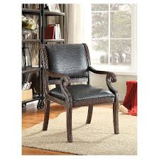 Black Leather Accent Chair Black Faux Leather Embossed Alligator Accent Chair Black