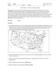 Weather Map Worksheets Instructor S Copy Lab Worksheet