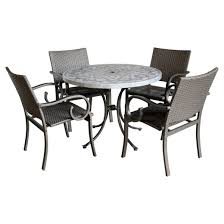 Patio Dining Table Capri 5pc Round All Weather Wicker And Concrete Stenciled Patio