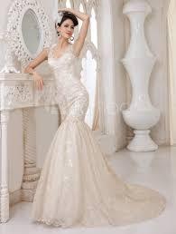 champagne lace v neck mermaid wedding gown milanoo milanoo com