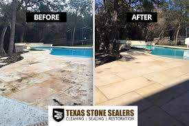 How To Clean A Concrete Patio by Before U0026 After Pictures Texas Stone Sealers Project Gallery
