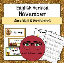 november word wall activities thanksgiving day of the dead