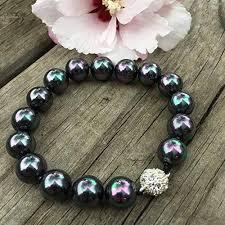 pearl beaded bracelet images 12 mm black rainbow pearl beaded bracelet handmade jpg