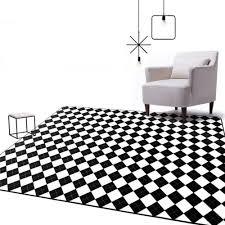 decorative floor mats home modern black white geometric plaid big carpet parlor bedroom