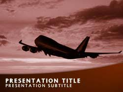 royalty free flight powerpoint template in orange