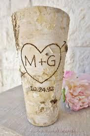initials u0026 date birch bark vase centerpiece wedding centerpiece