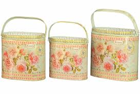 Vintage Flower Pots - french country planters vintage painted metal decorative vases by