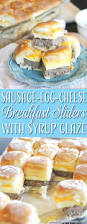sausage egg and cheese breakfast sliders with syrup glaze the